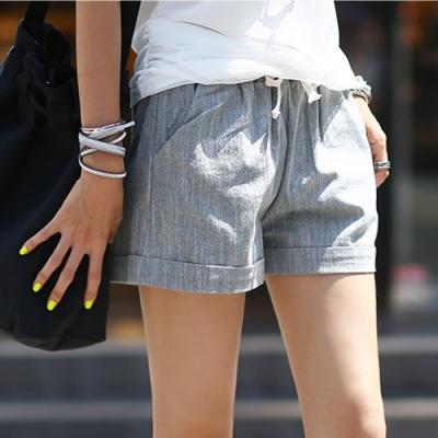 正韓 仿牛仔刷色抽繩反摺短褲 (共六色)-N.C21