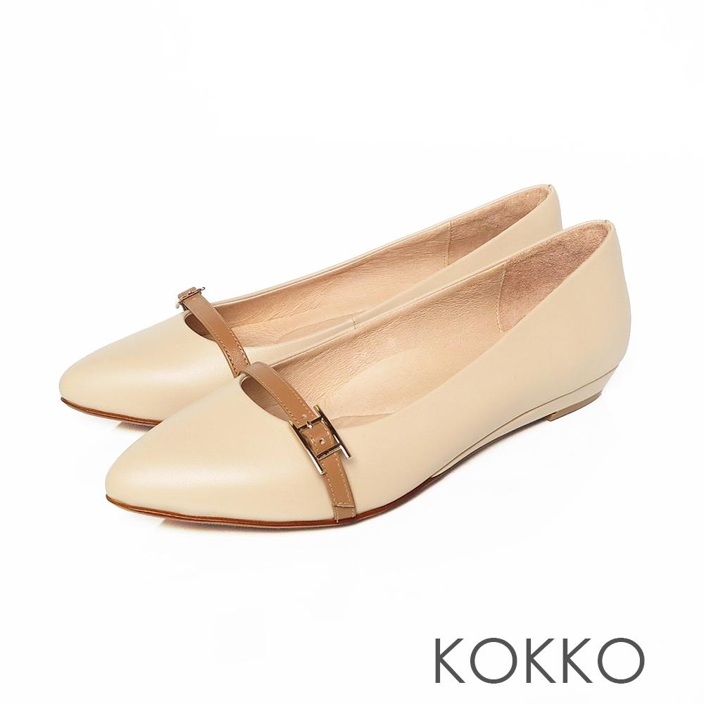 KOKKO -秀氣小飾帶楔型微增高-優雅杏