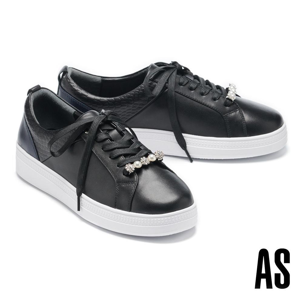 休閒鞋 AS 時尚耀眼珍珠鑽釦全真皮綁帶厚底休閒鞋-黑