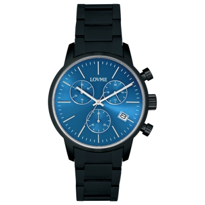 LOVME 城市獵人不鏽鋼三眼時尚手錶-IP黑x藍/43mm
