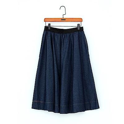 gozo 森林系圓弧口袋中長A字牛仔裙(深藍)