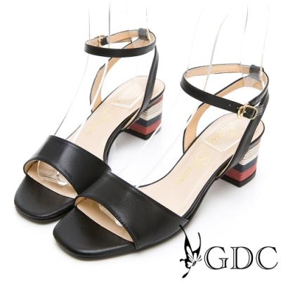 GDC-夏日繽紛真皮一字粗跟繞帶涼鞋-黑色
