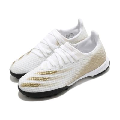 adidas 足球鞋 X Ghosted 3 TF 襪套式 童鞋 愛迪達 人工草皮 碎釘大底 地毯草 中童 白 金 EG8214