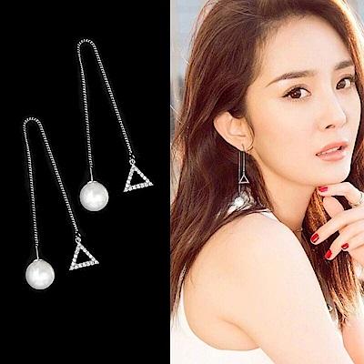 梨花HaNA  韓國925銀水鑽三角型珍珠光澤耳環
