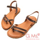G.Ms. MIT系列-無印風雙線條牛皮平底涼鞋-深咖