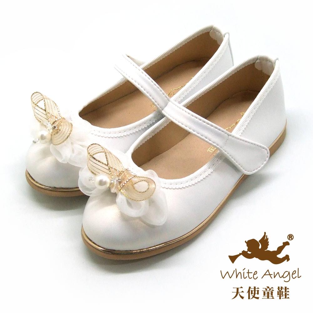 天使童鞋 雅典娜蝴蝶公主鞋(中-大童) JU8005-白