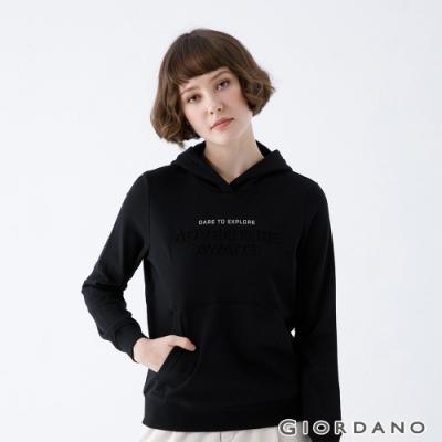 GIORDANO   女裝ADVENTURE連帽T恤 - 63 標誌黑