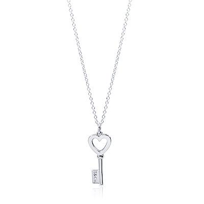 Tiffany&Co. TIFFANY KEYS鏤空愛心刻字鑰匙造型純銀項鍊