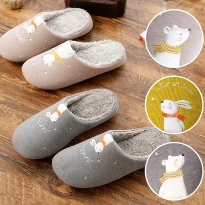 BUNNY LIFE 可愛熊兔柔絨加厚底居家拖鞋室內拖鞋-多色可選