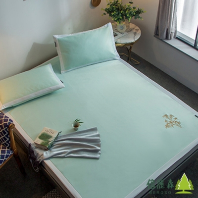 Beroso 倍麗森 風襲日本時尚雙人床6D冰絲涼蓆透氣吸濕床包3件組-淺綠-雙人5x6尺