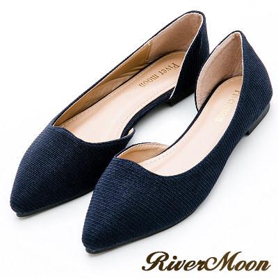 River&Moon大尺碼-素面斜紋亮蔥側挖空尖頭鞋-寶藍