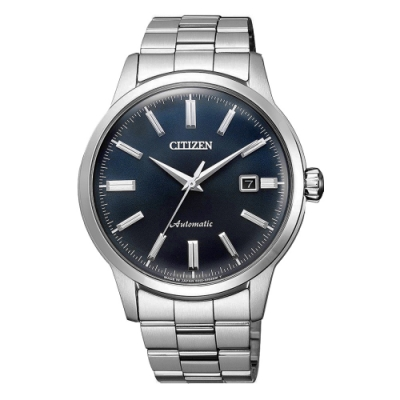 CITIZEN Mechanical摩登復古魅力機械腕錶-銀X藍(NK0000-95L)