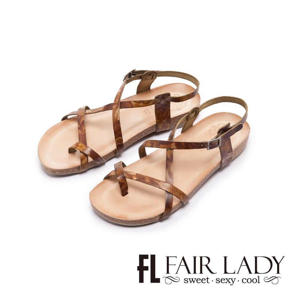FAIR LADY  PORRONET 植鞣皮革極簡線條平底涼鞋   綠