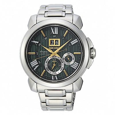 SEIKO 精工Premier 人動電能萬年曆手錶-42.9mmSNP155J1