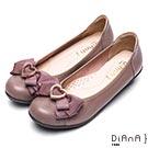 DIANA 舒適甜美--俏皮心形釦蝴蝶結真皮楔型娃娃鞋- 芋粉色
