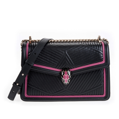 BVLGARI寶格麗Serpenti系列立體菱紋牛皮桃紅框邊設計雙色琺瑯蛇頭肩背包(黑色)