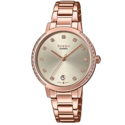 SHEEN 氣質女神玫瑰金不鏽鋼腕錶-金面(SHE-4056PG-4A)/32mm