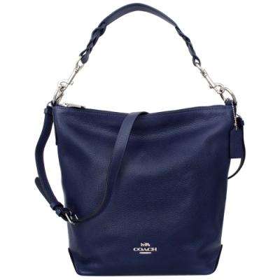 COACH ABBY DUFFLE寶藍色全皮肩背/斜背大款水桶包