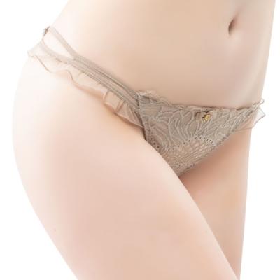 思薇爾 香頌之吻系列M-XL蕾絲低腰丁字褲(麻卡其)