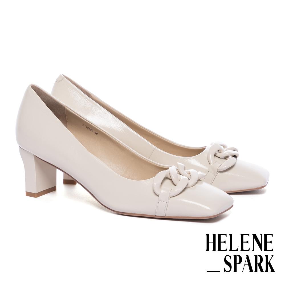 高跟鞋 HELENE SPARK 柔美時髦純色鏈條方頭高跟鞋-白