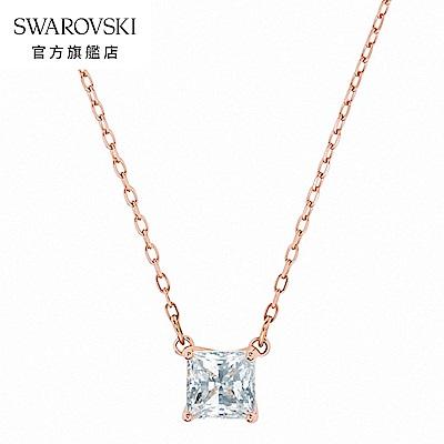 SWAROVSKI 施華洛世奇 Attract 玫金色方形寶石項鏈