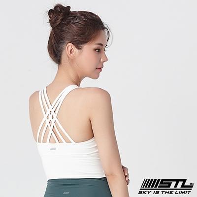STL Yoga Crop Top Bra 123 韓國瑜伽 女子高度支撐(專利記憶棉胸墊)機能運動內衣/短版上衣 編織白OffWhite