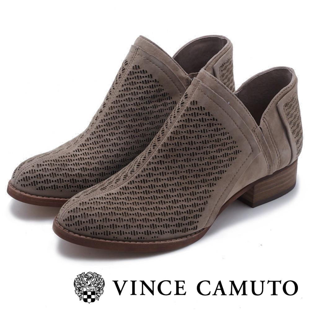 VINCE CAMUTO 側V字切口簍空麂皮短靴-絨灰