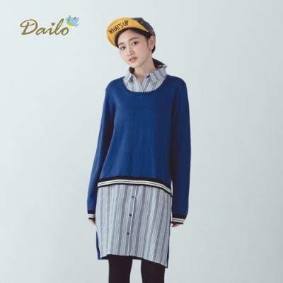 新降【Dailo】拼接直條紋襯衫-針織衫(三色)