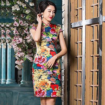 Kaleena Queen 花之宴高級蠶絲旗袍-彩色