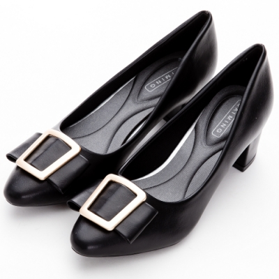 River&Moon 時髦方金扣朵結記憶鞋墊粗跟鞋 黑