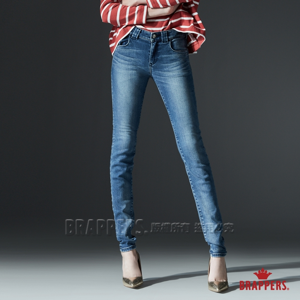 BRAPPERS 女款 新美腳ROYAL系列-中低腰彈性造型寬褲耳窄管褲-淺藍