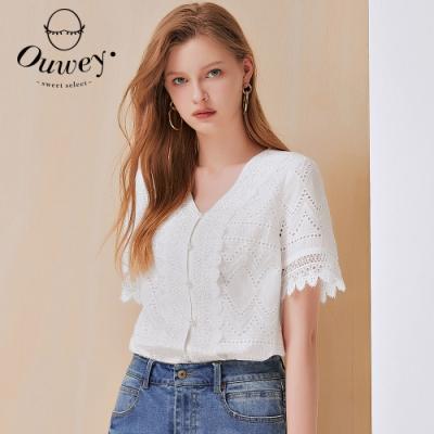 OUWEY歐薇 優雅刺繡蕾絲純棉V領上衣(白)3212021803