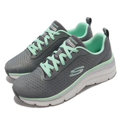 Skechers 休閒鞋 Fashion Fit 微增高 女鞋 輕量 避震 緩衝 耐磨 止滑 穿搭 灰 綠 149277-GYMN