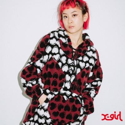 X-girl HEART BOA HOODED TUNIC連帽上衣-咖啡色
