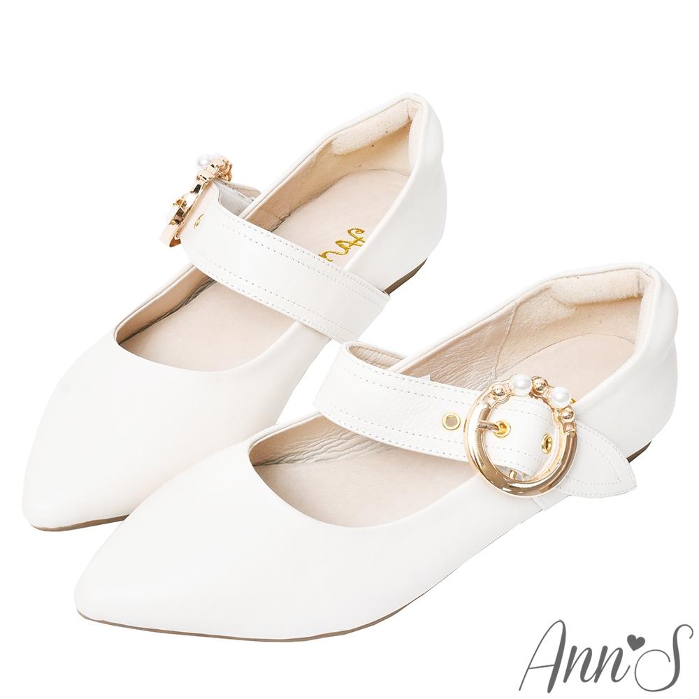 Ann'S奶油甜心-訂製珍珠圓扣瑪麗珍全真皮平底鞋-米白