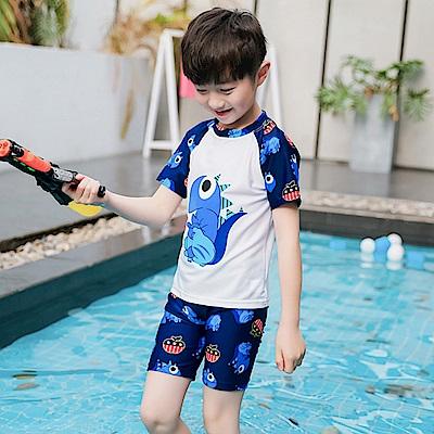 Biki比基尼妮泳衣   白恐龍短袖泳衣兒童泳衣泳裝(S-3XL)