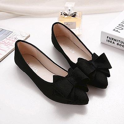 KEITH-WILL時尚鞋館 韓名媛唯美純淨尖頭平底鞋-黑色
