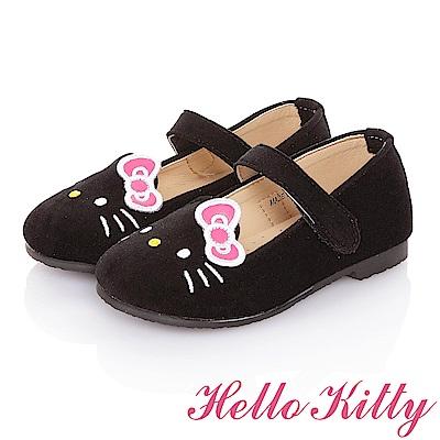 HelloKitty 高級手工超纖皮輕量減壓樂福娃娃童鞋 黑色