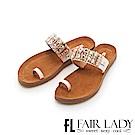 Fair Lady 拼色水鑽寶石套趾涼拖鞋 白