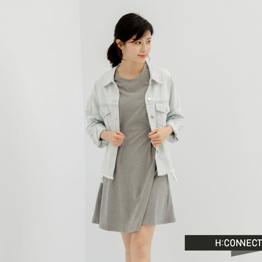 H:CONNECT 韓國品牌 女裝-腰部抓皺短袖傘狀洋裝