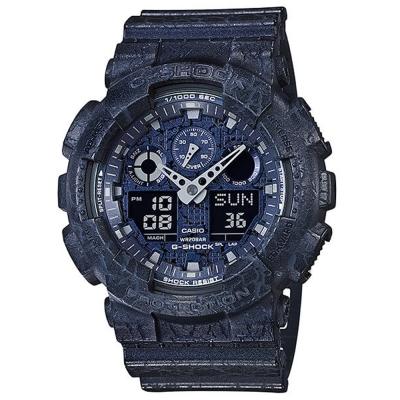 G-SHOCK  街頭潮流岩石紋理設計運動休閒錶(GA-100CG-2A)藍51mm