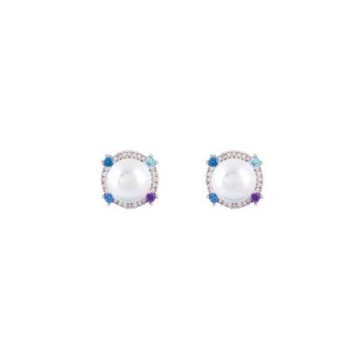 NOONOO FINGERS BLUE MARBLE PEARL 耳環