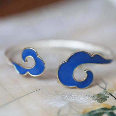 東方美學古典925純銀琺瑯雲紋手鐲可調節-設計所在