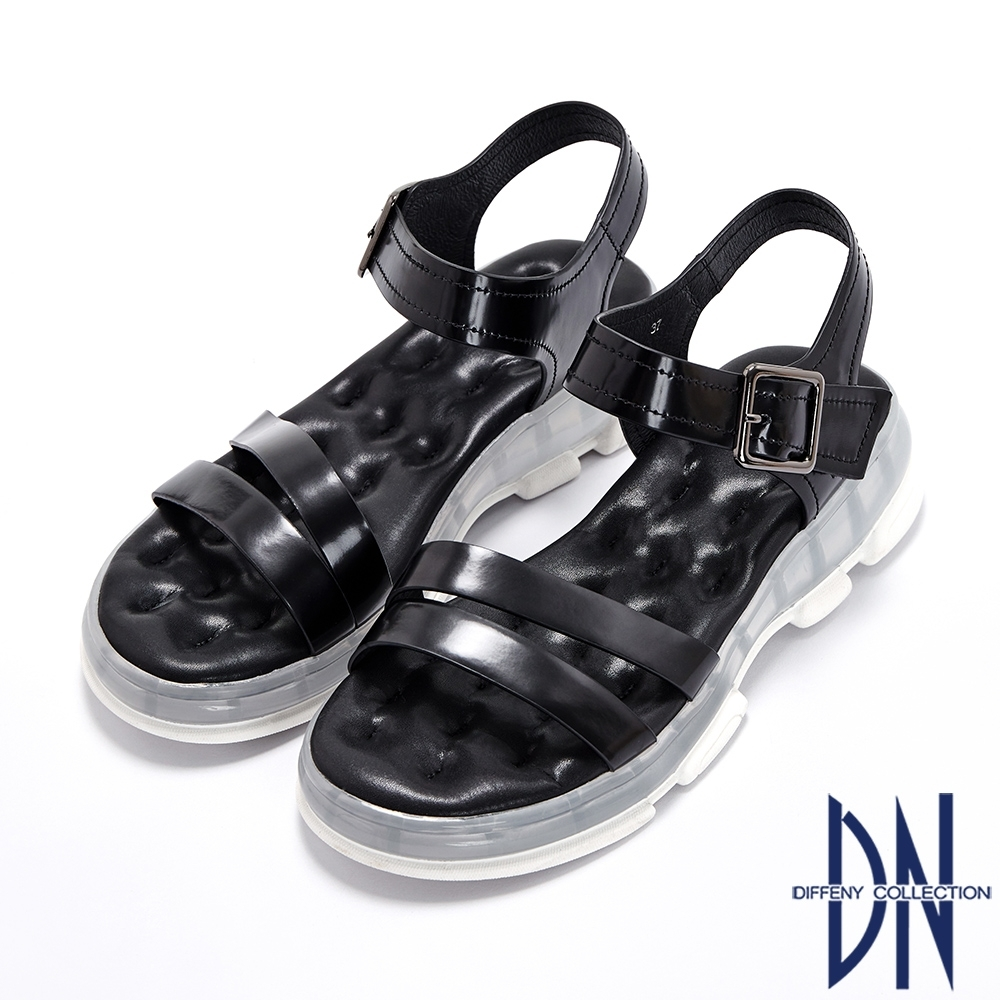 DN涼鞋_氣墊運動風牛皮厚底涼鞋-黑