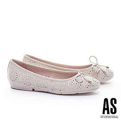 平底鞋 AS 金屬釦蝴蝶結沖孔造型全真皮娃娃平底鞋-米