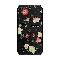 【TOYSELECT】iPhone 7/8 Plus 黑底玫瑰文藝 9H抗刮玻璃手機殼