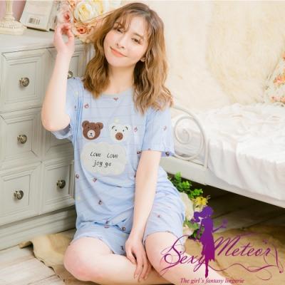 睡衣 全尺碼 條紋熊熊貼布牛奶絲短袖二件式睡衣組(俏皮藍) Sexy Meteor