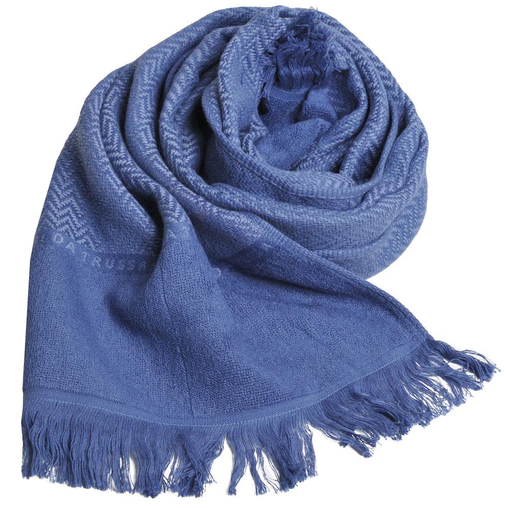 TRUSSARDI 貴族犬W水波紋字母LOGO長棉質圍巾(水藍色)