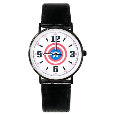 Disney迪士尼 Marvel漫威美國隊長超薄鏡面皮帶手錶40mm