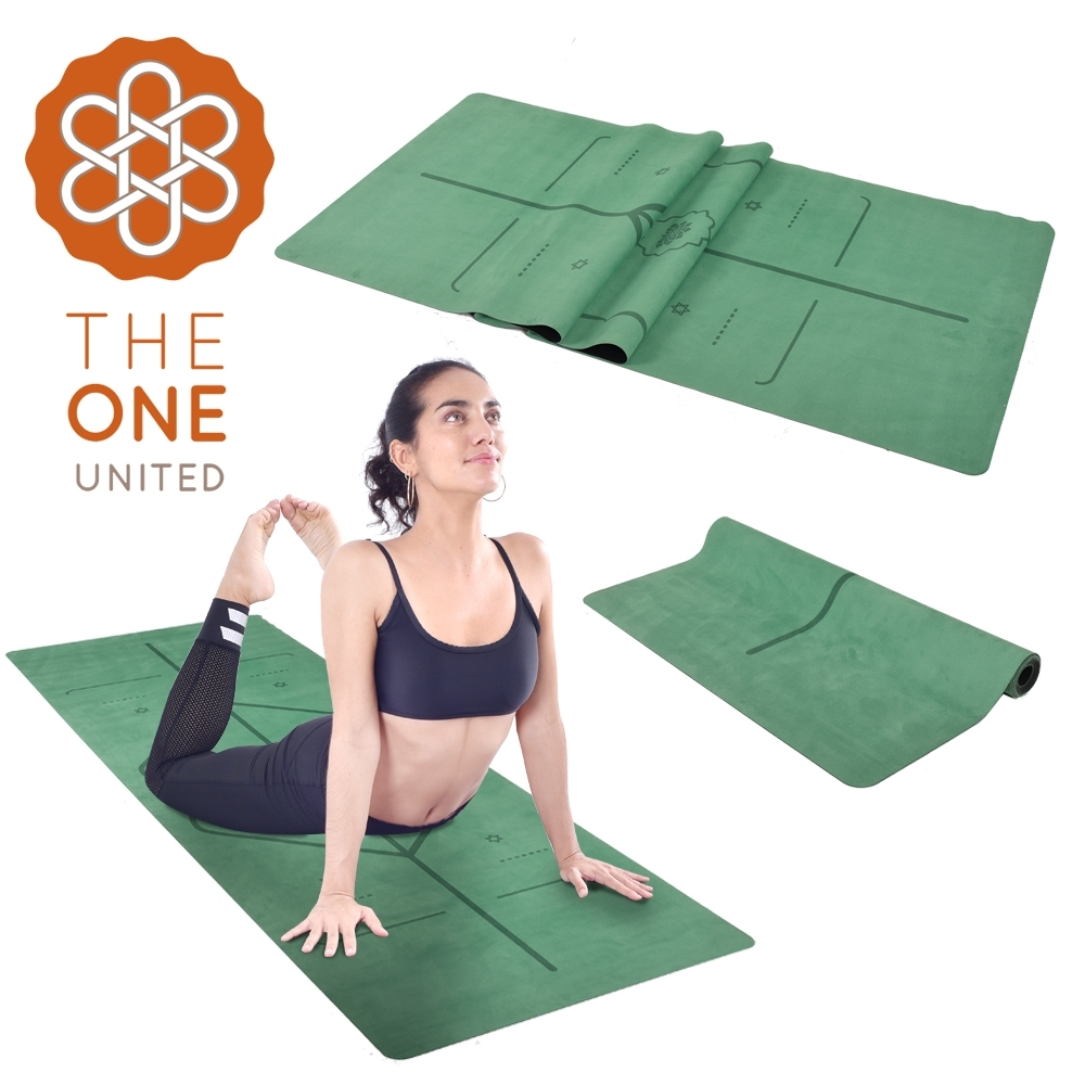 The One 專業防滑天然橡膠正位線麂皮絨瑜珈墊 瑜珈毯鋪巾 1mm(兩色任選)